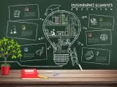 Creative education infographics blackboard — Stockvektor