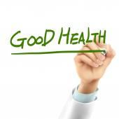 Doctor writing good health words — Stock Vector