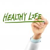 Doutor escrever palavras de vida saudável — Vetor de Stock