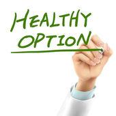 Doctor writing healthy option words — Cтоковый вектор