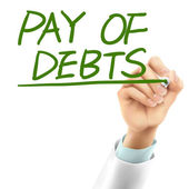 Doctor writing pay of debts words  — Stock vektor