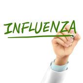 Médecin écrire mot grippe — Vecteur