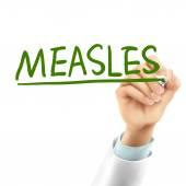 Doctor writing measles word — Stockvektor