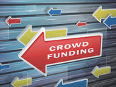 Moving red arrow of crowd funding words — Stock Vector