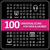 Attractive 100 universal icons set — Stock Vector