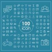 100 Sosyal Medya Icons set — Stok Vektör