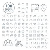 100 social media iconen instellen — Stockvector
