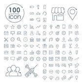 100 social media icons set — Stock Vector