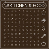 Adorable food and kitchenware icons set  — Stock Vector