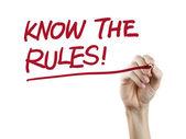 Conocer las palabras de reglas escritas a mano — Foto de Stock