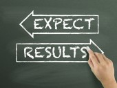 Results and expect words drawn by hand — Stock Photo