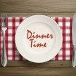 Dinner time written by ketchup on a plate  — Stock Vector #70459773