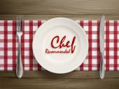 Chef recommended words written by ketchup on a plate — Stock Vector