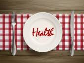 Health word written by ketchup on a plate — 图库矢量图片