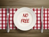 No free written by ketchup on a plate — Stock Vector
