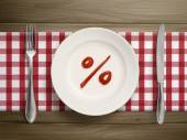 Percent symbol drawn by ketchup on a plate  — Stock Vector
