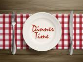 Dinner time written by ketchup on a plate  — Vecteur