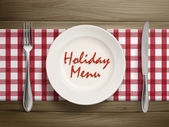 Holiday menu written by ketchup on a plate — Stock Vector