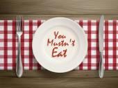 Você não deve comer escrito por catchup no prato — Vetor de Stock