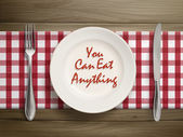 You can eat anything written by ketchup on plate — Vector de stock