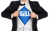 Businessman showing Sell word underneath his shirt — Stock Vector