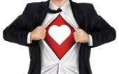 Businessman showing heart icon underneath his shirt — Stock Vector