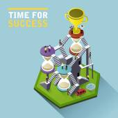 Time for success flat 3d isometric infographic — Stock Vector