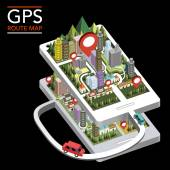 GPS route map flat 3d isometric infographic — Stock Vector