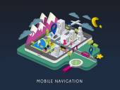 Mobile navigation concept 3d isometric infographic — Stock Vector