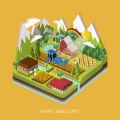 3d Isometrische infographic voor schattig boerderij landschap — Stockvector
