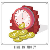 Time is money concept 3d isometric infographic — Stock Vector