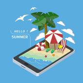 Summer recreation concept 3d isometric infographic — Stock Vector