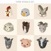 Farm animals set 3d isometric infographic — Stock Vector