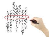 Parole incrociate di servizio scritto dalla mano dell'uomo — Foto Stock