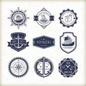 Set of vintage marine emblems  — Stock Vector