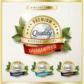 Premium quality golden labels with diamond elements — Stock Vector