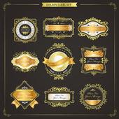 Elegant premium quality golden labels collection  — Stock Vector