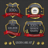Gorgeous premium quality golden labels collection — Stockvector