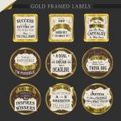Gold framed premium quality labels collections  — Stock Vector