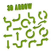 3 d 緑の矢印設定のコレクション — ストックベクタ