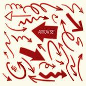 Lovely red arrow set — Stock Vector