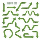 Useful green arrows set collection  — Stock Vector
