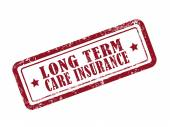 Stamp long term care insurance in red — Stock Vector