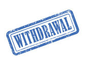 Stamp withdrawal in blue — Stock Vector
