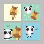 Adorable greeting cards with lovely bear and panda — Cтоковый вектор