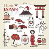 Japan famous things and landscapes — Stock Vector