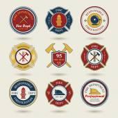 Diverse fire department emblems set — Stock Vector