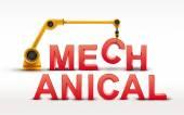 Industrial robotic arm building MECHANICAL word — Stock Vector