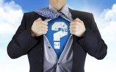 Businessman showing question icon underneath his shirt — Stock Photo
