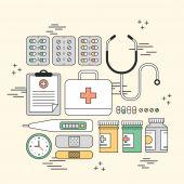 Medication supplies concept — Stock Vector